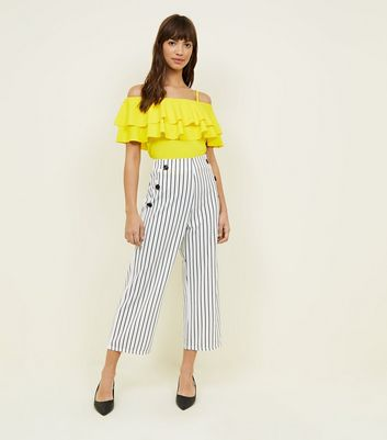 Cameo Rose White Stripe Button Culottes