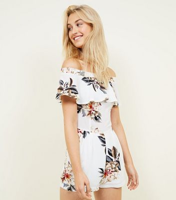 Cameo Rose White Floral Bardot Playsuit