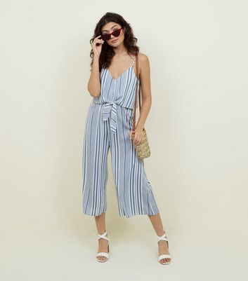 Pale Blue Stripe Tie Front Jumpsuit by New Look