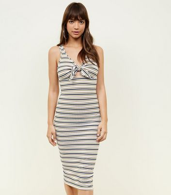 Pink Stripe Ribbed Tie Front Midi Dress by New Look