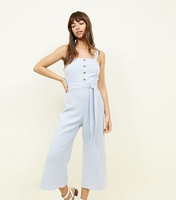 Blue Stripe Linen Blend Button Front Jumpsuit