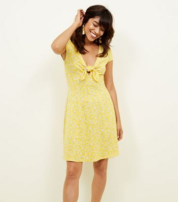 Yellow Floral Print Tie Front Skater Dress