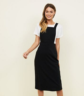 Black Cross Strap Midi Pinafore Dress