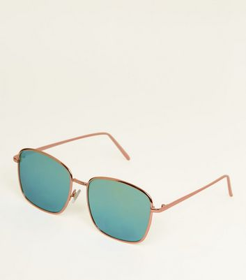 Teal Mirrored Lens Rectangle Sunglasses