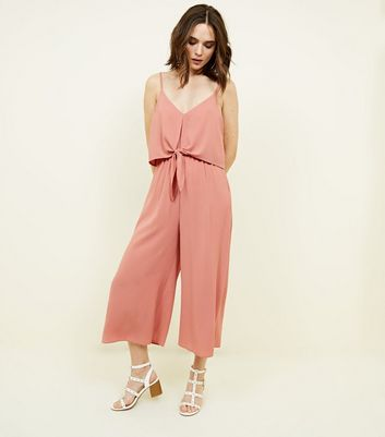 Pink Crepe Tie Front Jumpsuit by New Look