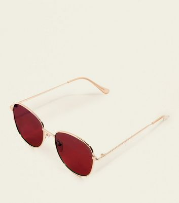 Rose Gold Red Tinted Lense Sunglasses