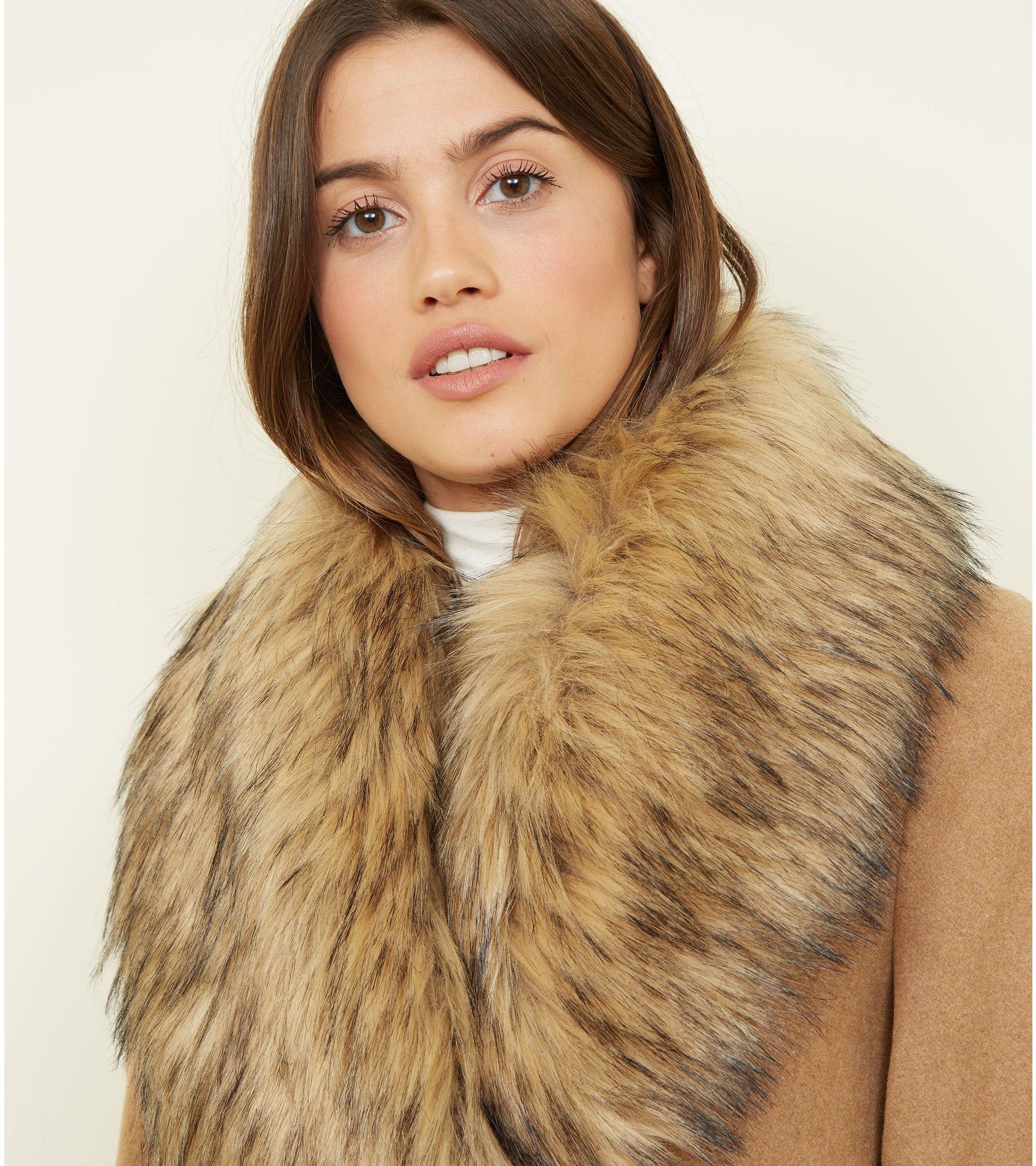 marketable best selling hot-selling authentic Camel Detachable Faux Fur Trim Coat