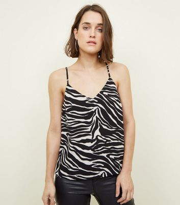 Black And White Zebra Print Cami by New Look