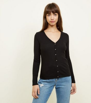 Black Ribbed V-Neck Cardigan