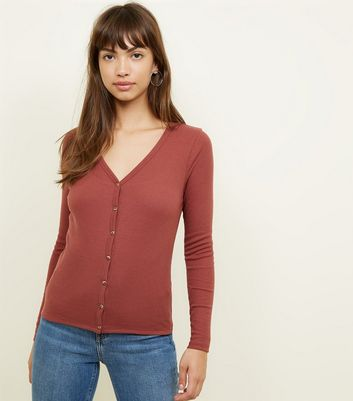 Rust Ribbed V-Neck Cardigan