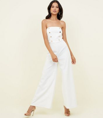 White Double Button Front Bandeau Jumpsuit by New Look