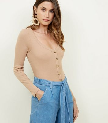 Camel V Neck Cropped Cardigan
