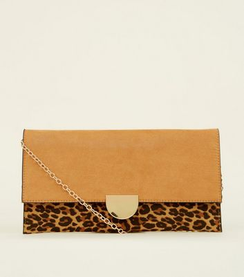 Brown Leopard Print Contrast Clutch Bag