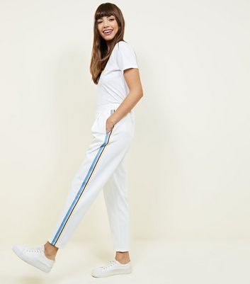 White Jersey Side Stripe Tapered Trousers by New Look