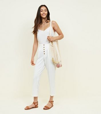 White Button Front Tapered Trousers by New Look