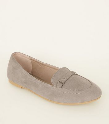Girls Grey Suedette Ring Strap Front Loafers