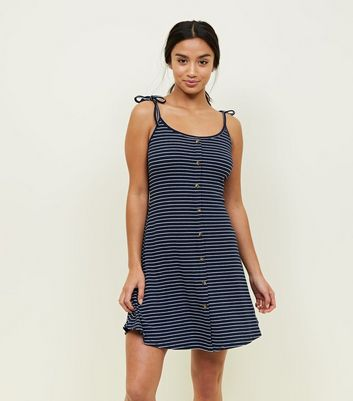 Petite Navy Stripe Button Front Skater Dress