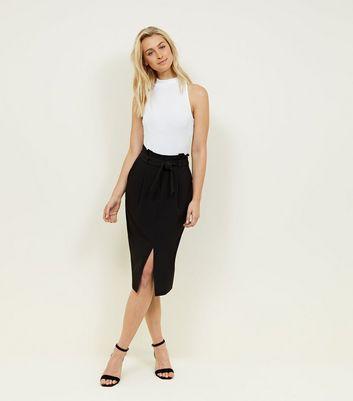 Shoptagr Black Tie Waist Paperbag Pencil Skirt By New Look
