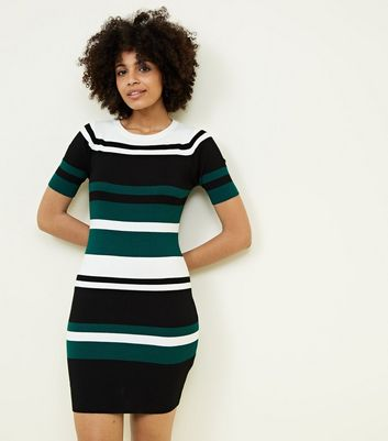 Green Colour Block Stripe Ribbed Bodycon Dress