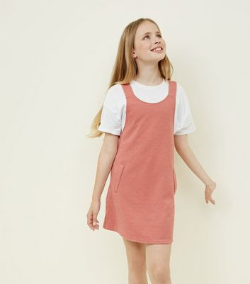 Teens Mid Pink Pinafore Dress by New Look