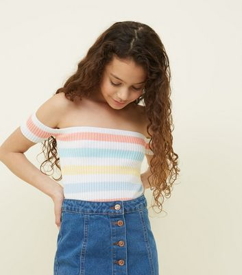 Teens Multicoloured Stripe Bardot Top