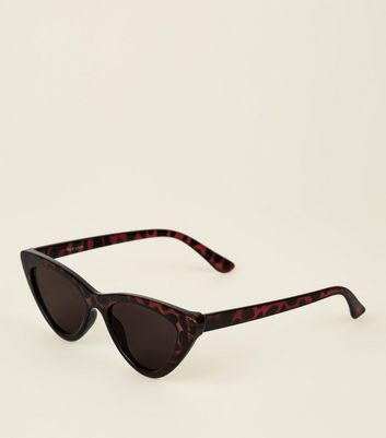 Brown Tortoiseshell Chunky Frame Cat Eye Sunglasses by New Look