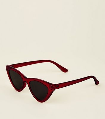 Red Tinted Cateye Sunglasses by New Look