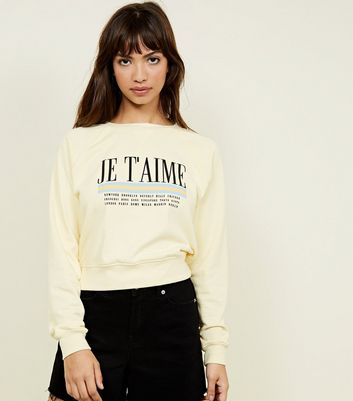 Yellow Je T'Aime Slogan Sweatshirt