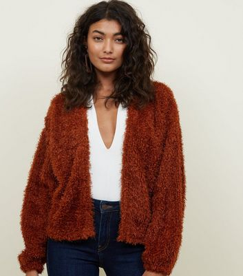 Tan Fine Knit Fluffy Cardigan
