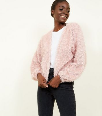 Pale Pink Fine Knit Fluffy Cardigan