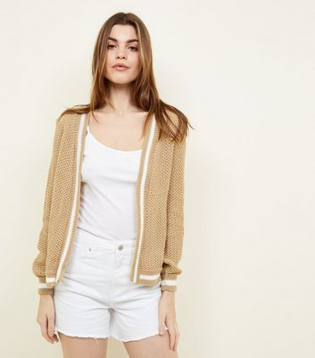 Camel Stripe Edge Knitted Cardigan