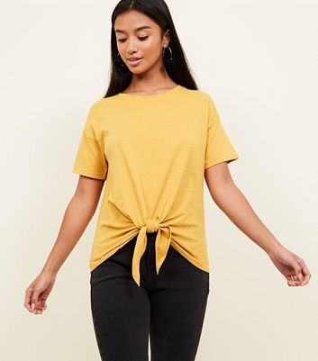 Petite Yellow Tie Front Jersey T-Shirt