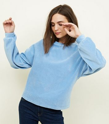 Pale Blue Ribbed Chenille Balloon Sleeve Top