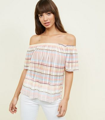 Pastel Stripe Pointelle Bardot Top