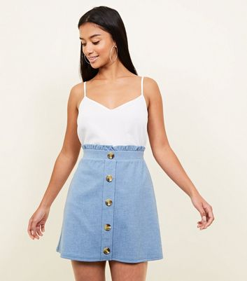 Petite Pale Blue Button Front Paperbag Skirt