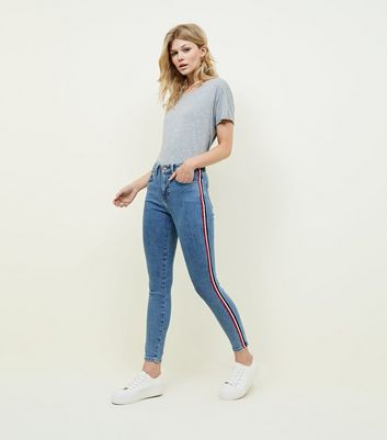 Petite Blue Side Stripe Skinny Jeans by New Look