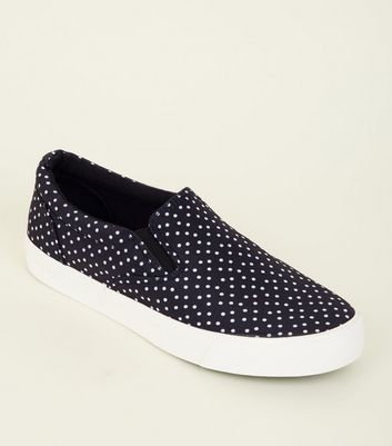Black Polka Dot Canvas Slip On Trainers