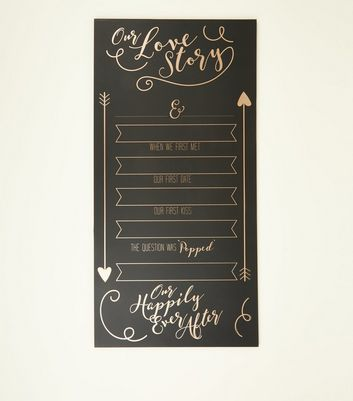 Black Slogan Our Love Story Board