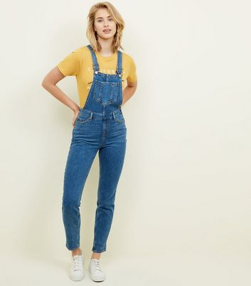 Blue Pocket Front Relaxed Skinny Denim Dungarees
