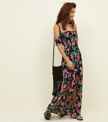 Black Tropical Floral Bardot Maxi Beach Dress