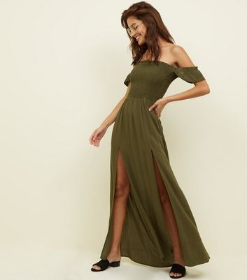 Khaki Bardot Shirred Maxi Dress