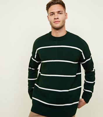 Forest Green Crew Neck White Striped Jumper