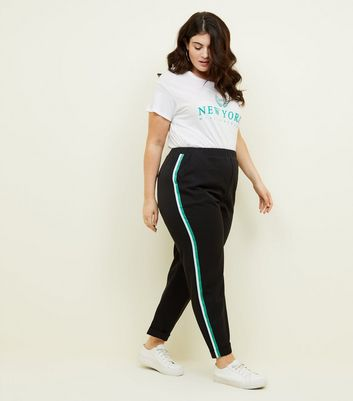 Curves Black Side Stripe Trousers