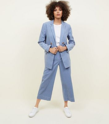 Blue Corduroy Cropped Trousers