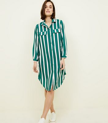 Cameo Rose Green Stripe Shirt Dress