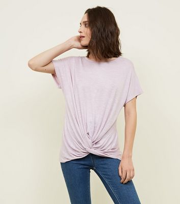 Lilac Twist Front Fine Knit Top by New Look