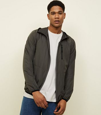 Khaki Zip Front Hooded Jacket