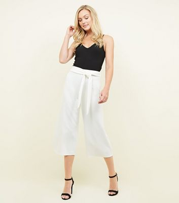 White Tie Waist Culottes by New Look