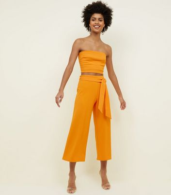 Bright Orange Tie Waist Culottes 				  				 					 				 			 			 					Bright Orange Stretch Bandeau Top by New Look