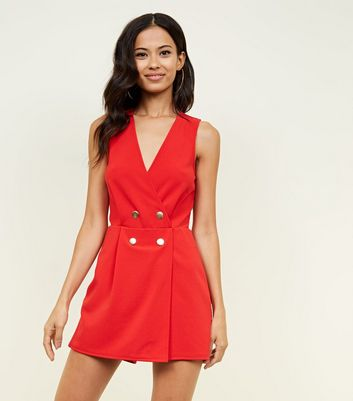 Red Sleeveless Tuxedo Playsuit